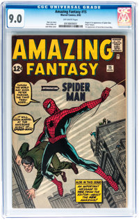 Amazing Fantasy #15 (Marvel, 1962) CGC VF/NM 9.0 Off-white pages