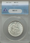 Seated Half Dollars: , 1891 50C MS61 ANACS. NGC Census: (9/100). PCGS Population (8/145).Mintage: 200,000. Numismedia Wsl. Price for problem free...