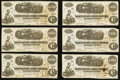 Confederate Notes:1862 Issues, T40 $100 1862 PF-1 Cr. 298 Eight Examples.. ... (Total: 8 notes)