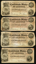 Confederate Notes:1864 Issues, T64 $500 1864 PF-2 Cr. 489 Four Examples.. ... (Total: 4 notes)