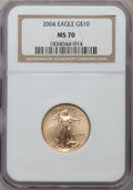 Modern Bullion Coins, 2004 G$10 Quarter-Ounce Gold Eagle MS70 NGC. NGC Census: (1244).PCGS Population (421). Numismedia Wsl. Price for problem ...