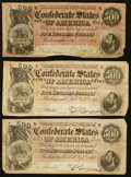 Confederate Notes:1864 Issues, T64 $500 1864 PF-1 Cr. 489A. T64 $500 1864 PF-2 Cr. 489 Two Examples.. ... (Total: 3 notes)