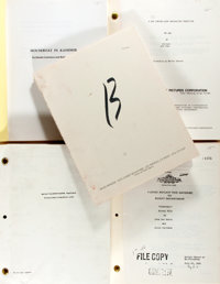 Group of Four Reproduction Screenplays with a MGM Features List. Includes Scripts for Top Gun, Houseboat in Kashmi
