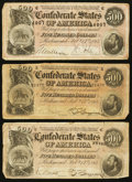Confederate Notes:1864 Issues, T64 $500 1864 PF-2 Cr. 489 Three Examples.. ... (Total: 3 notes)