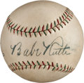 Autographs:Baseballs, Late 1920's Babe Ruth & Lou Gehrig Signed Baseball, PSA/DNA NM+7.5....