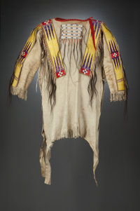 A PLAINS QUILLED HIDE WAR SHIRT Once Belonging to Sioux Chief Runs The Enemy c. 1880