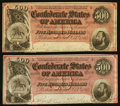 Confederate Notes:1864 Issues, T64 $500 1864 PF-3 Cr. 489B Two Consecutive Examples.. ... (Total: 2 notes)