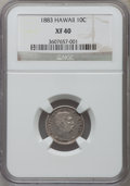 Coins of Hawaii: , 1883 10C Hawaii Ten Cents XF40 NGC. NGC Census: (41/290). PCGSPopulation (77/410). Mintage: 250,000. ...