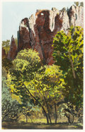 Works on Paper, JANE KAMMERER STARKS (American, b. 1951). El Rito Canyon, New Mexico, 2001. Gouache on paper. 32 x 20-1/2 inches (81.3 x...