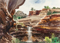 Works on Paper, MICHAEL FRARY (American, 1918-2005). Hidden Falls, Ceta Canyon. Watercolor on paper. 21 x 29 inches (53.3 x 73.7 cm) (si...