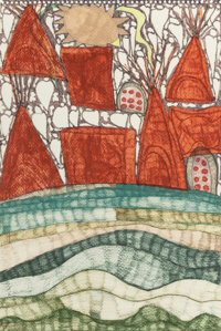 MARK COLE GREENE (American, b. 1955) Indian Village #4, 1996 Colored ink and pencil on paper 18 x