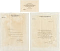 Football Collectibles:Others, 1929 Knute Rockne Signed Letter Lot. ...
