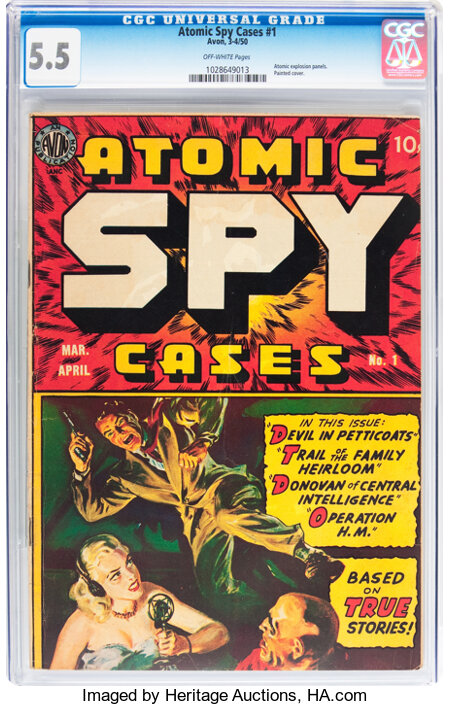 Atomic Spy Cases #1 (Avon, 1950) CGC FN- 5.5 Off-white pages....