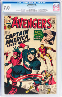 The Avengers #4 (Marvel, 1964) CGC FN/VF 7.0 Off-white pages