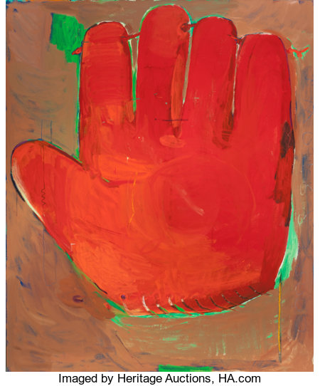 CHRISTOPHER BROWN (American, b. 1951) First Mitt, 1980 Oil on canvas 73-1/4 x 61-1/4 inches (186.1 x 155.6 cm) Signe...