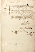 "Autographs:Non-American, House of Commons Document Signed by Several Members. Two pages withintegral blank, 7.5"" x 11.5"", London, December 15, 1648...."