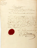"Autographs:Non-American, Dominique Vandamme Letter Signed. One page, 9"" x 14"",""Headquarters at Zotenberg,"" circa July 23, 1796,acknowledgin..."