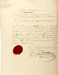 """Dominique Vandamme Letter Signed. One page, 9"""" x 14"""", """"Headquarters at Zotenberg,"""" circa July 2"""