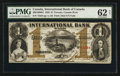 Canadian Currency: , Toronto, CW- The International Bank of Canada $1 Sep. 15, 1848 Ch. # 380-10-08-04. ...