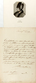 "Autographs:Non-American, [Napoleon]. General Géraud Duroc, Duke of Friuli, Autograph Letter Signed. One page with integral address leaf, 8"" x 12.5"", ..."