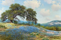 Texas:Early Texas Art - Regionalists, WILLIAM A. SLAUGHTER (American, 1923-2003). Old Oak on aBluebonnet Hillside, 1974. Oil on canvas. 24 x 36 inches (61.0...