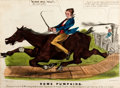 Books:Prints & Leaves, Original Color Lithograph of a Horse and Locomotive Race, EntitledSome Pumpkins. New York: N. Currier, 1850. Me...