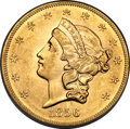 Liberty Double Eagles, 1856-S $20 AU55 PCGS. CAC. Variety 17O....