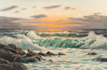 Texas:Early Texas Art - Regionalists, WILLIAM ROBERT THRASHER (American, 1908-1997). Sea atSunset. Oil on canvas. 24 x 36 inches (61.0 x 91.4 cm). Signedlow...