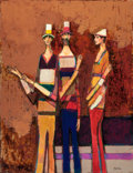 Texas:Early Texas Art - Modernists, DAVID PRYOR ADICKES (American, b. 1927). Trois Amis, 1998.Oil on board. 39 x 30 inches (99.1 x 76.2 cm). Signed lower r...