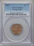 Flying Eagle Cents: , 1857 1C MS63 PCGS. PCGS Population (785/1175). NGC Census:(526/1155). Mintage: 17,450,000. Numismedia Wsl. Price for probl...