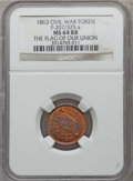 Civil War Patriotics, 1863 The Flag of Our Union / Army and Navy MS64 Red and Brown NGC.Fuld-207/325a....