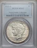Peace Dollars, 1935-S $1 MS62 PCGS. Ex: Teich Family Collection. PCGS Population(574/3287). NGC Census: (408/2021). Mintage: 1,964,000. N...