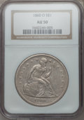 Seated Dollars: , 1860-O $1 AU50 NGC. NGC Census: (29/641). PCGS Population (71/922).Mintage: 515,000. Numismedia Wsl. Price for problem fre...