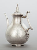 Silver Holloware, British:Holloware, A GEORGE ANGELL VICTORIAN EGYPTIAN REVIVAL SILVER COFFEE POT.George Angell, London, England, circa 1860-1861. Marks: (lion ...