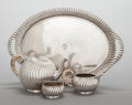 Silver Holloware, Continental:Holloware, A THREE PIECE VIENNESE SILVER TEA SERVICE WITH SILVER-PLATED TRAY.Maker unidentified, Vienna, Austria, circa 1900. Marks: (...(Total: 4 )