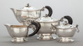 Silver Holloware, Continental:Holloware, A FOUR PIECE ITALIAN SILVER AND EBONIZED WOOD TEA AND COFFEESERVICE. Fratelli Cacchione, Milan, Italy, circa 1940. Marks: ...(Total: 4 Items)