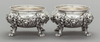 A PAIR OF PAUL STORR WILLIAM IV SILVER FIGURAL OPEN SALTS Paul Storr, London, England, circa 1833-1834 Marks: (