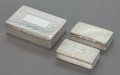 Silver Smalls:Snuff Boxes, TWO ENGLISH AND ONE SCOTTISH SILVER SNUFF BOXES. Various makers,Birmingham, England and Edinburgh, Scotland, including exam...(Total: 3 Items)