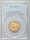 Indian Half Eagles: , 1913-S $5 MS62 PCGS. PCGS Population (165/63). NGC Census:(124/39). Mintage: 408,000. Numismedia Wsl. Price for problem fr...