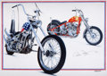 """Transportation:Automobilia, """"Together Again"""" Painting By Harold Cleworth - Commissioned AndSigned By Peter Fonda. ..."""
