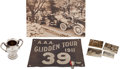 Transportation:Automobilia, 1911 Glidden Tour Collection - 5 Items Including Trophy, OversizedImage, Photo Album, Badges And Tour Banner... (Total: 5 Items)