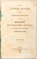 Books:Americana & American History, [Anti-Slavery]. The Fifth Annual Report of the Board of Managersof the Massachusetts Anti-Slavery Society. With S...