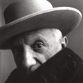 Photographs, IRVING PENN (American, 1917-2009). Picasso, Cannes, France, 1957. Gelatin silver, before 1965. 22-1/4 x 22-1/2 inches (5...