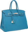 Luxury Accessories:Bags, Hermes 35cm Blue Jean Togo Leather Birkin Bag with PalladiumHardware. ...