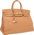 Luxury Accessories:Bags, Hermes 40cm Gold Courchevel Leather Birkin Bag with Gold Hardware....