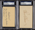 Baseball Collectibles:Others, Lloyd and Paul Waner Signed Index Cards Lot of 2 - With Unique Inscription....