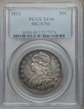 Bust Half Dollars: , 1813 50C 50C Over UNI XF40 PCGS. PCGS Population (14/75). NGCCensus: (7/53). Numismedia Wsl. Price for problem free NGC/P...