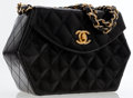 Luxury Accessories:Bags, Chanel Black Quilted Lambskin Leather Hexagonal Evening Bag. ...