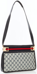 Luxury Accessories:Accessories, Gucci Navy Blue Classic Monogram Canvas Shoulder Bag with WebStripe Detail. ...