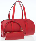 Luxury Accessories:Bags, Louis Vuitton Red Epi Leather Soufflot Bag with Pochette . ...